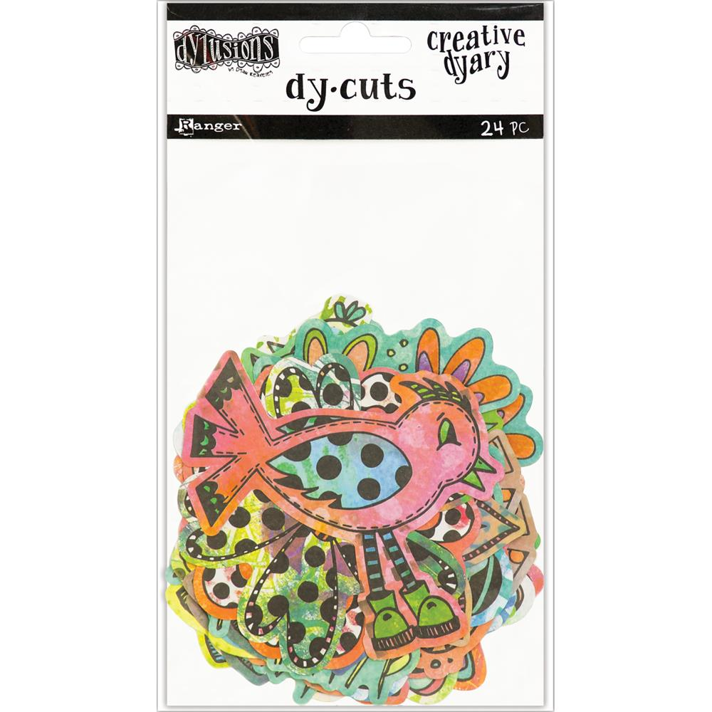 Dylusions Creative Dyary Die Cuts Coloured Birds and Flowers