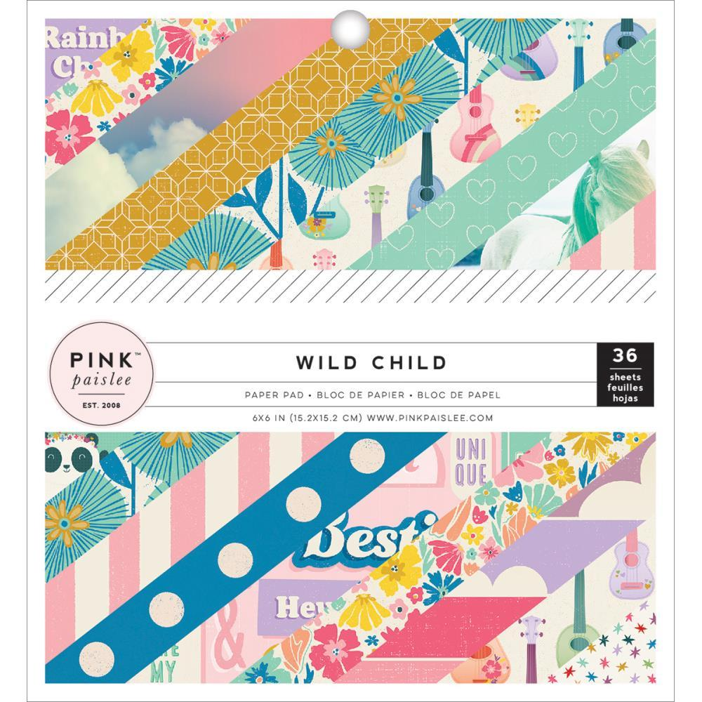 Pink Paislee Wild Child Paper Pad 6 x 6 Girl