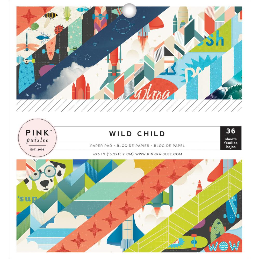 Pink Paislee Wild Child Paper Pad 6 x 6 Boy - Scrap Of Your Life