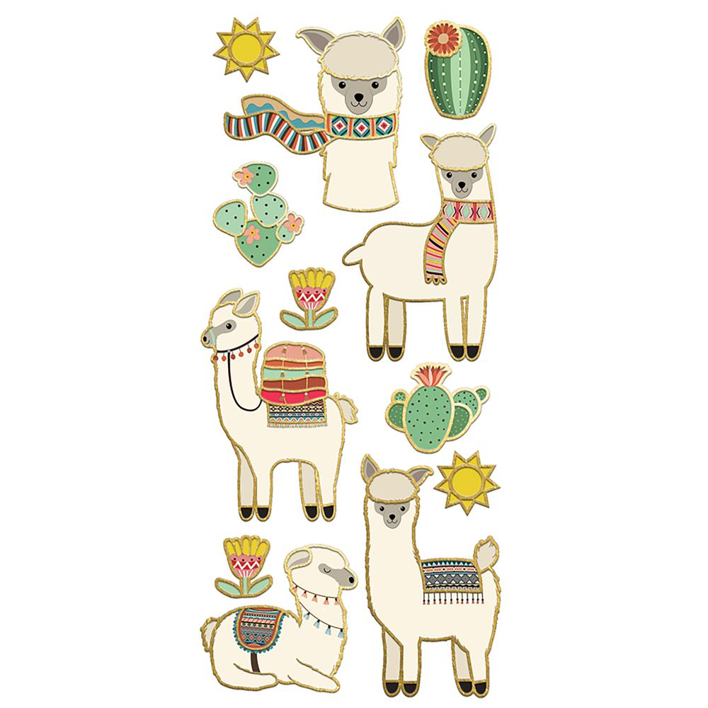 "Paper House Sticky Pix Faux Enamel Stickers 8""X3"" Llama - Scrap Of Your Life"