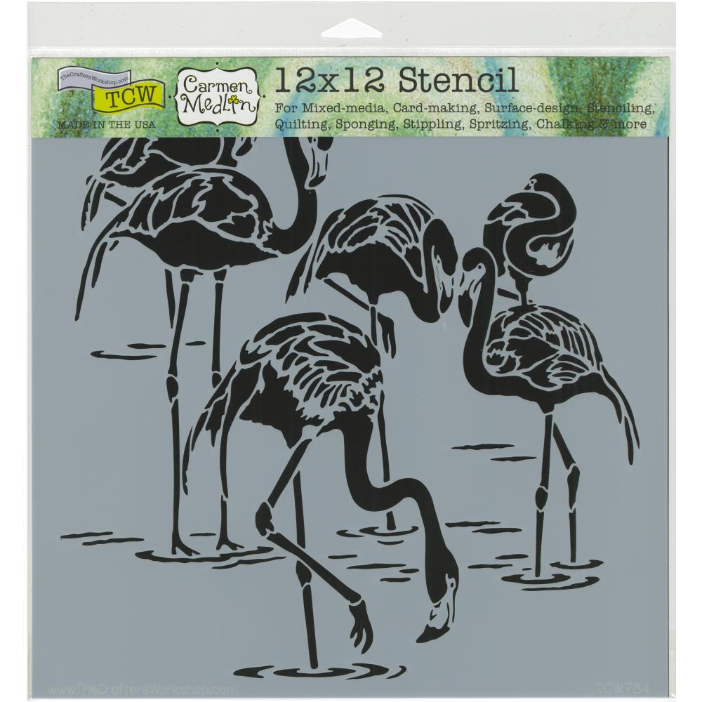 The Crafters Workshop Stencil 12 x12 Flamingos - Scrap Of Your Life