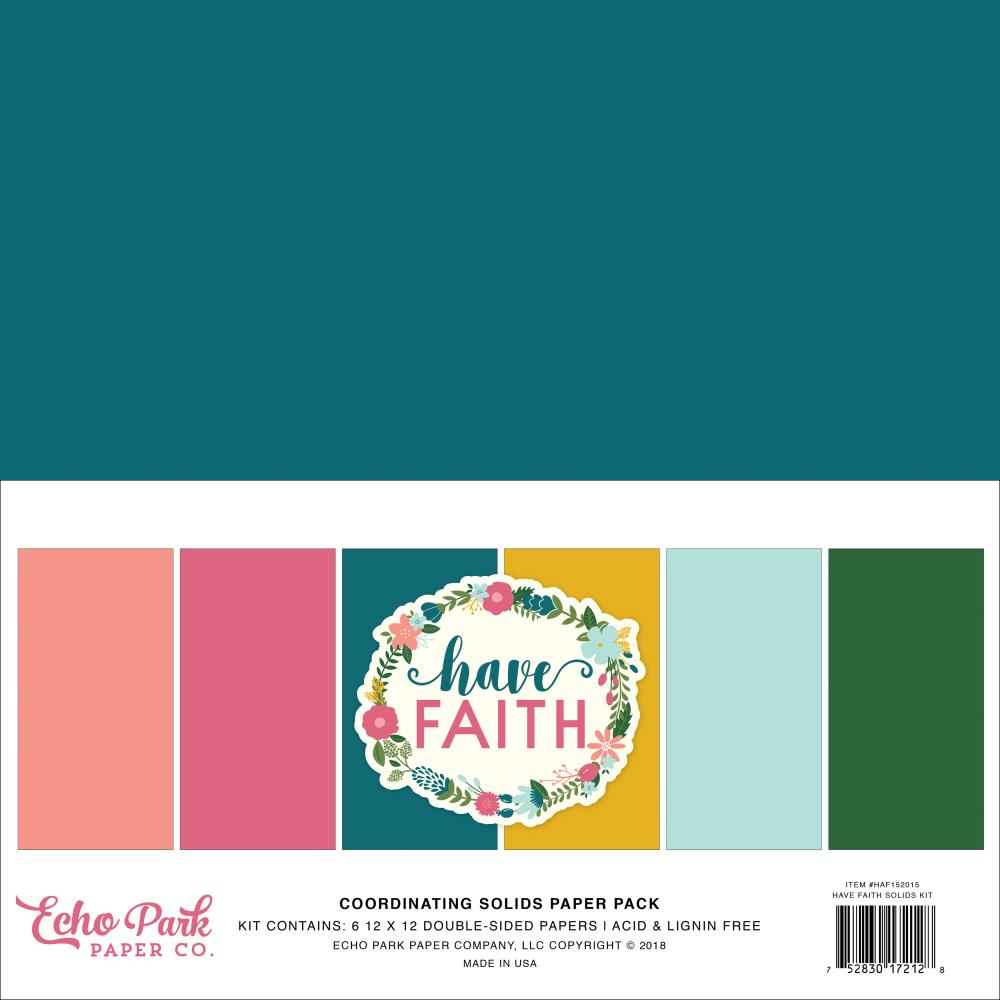 "Echo Park Double-Sided Solid Cardstock 12""X12"" Have Faith - Scrap Of Your Life"