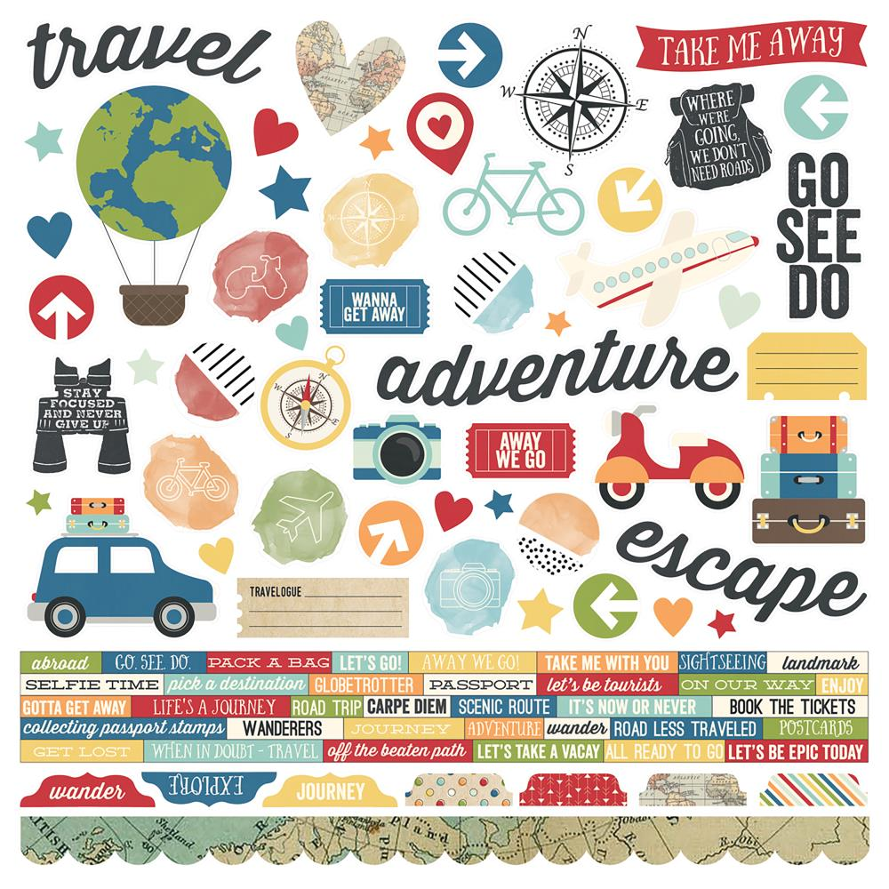 "Simple Stories Travel Notes Cardstock Stickers 12""X12"""