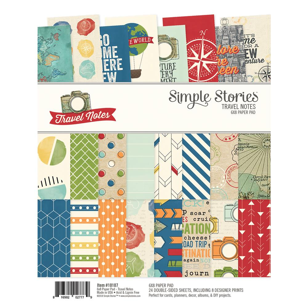 "Simple Stories Travel Notes Double-Sided Paper Pad 6""X8"" 24/Pkg"