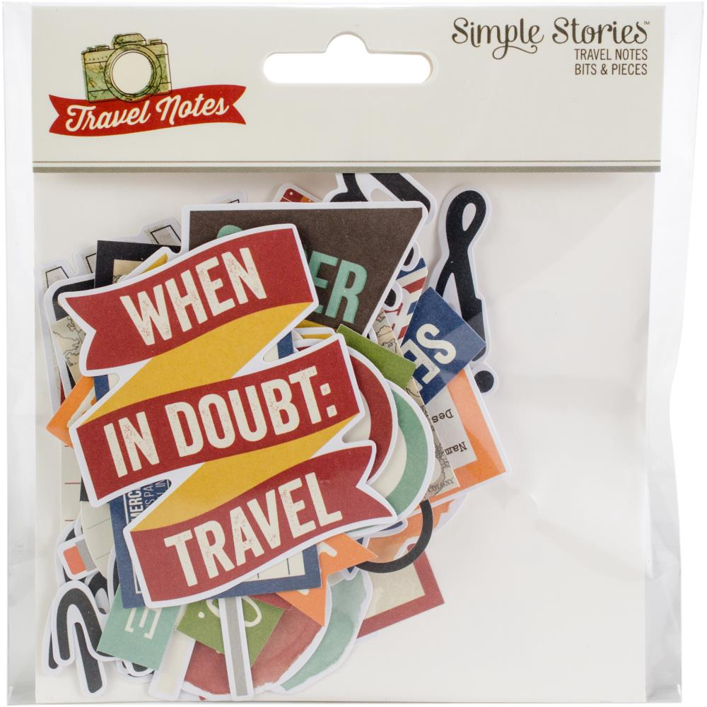 Simple Stories Travel Notes Bits & Pieces Die-Cuts 48/Pkg - Scrap Of Your Life