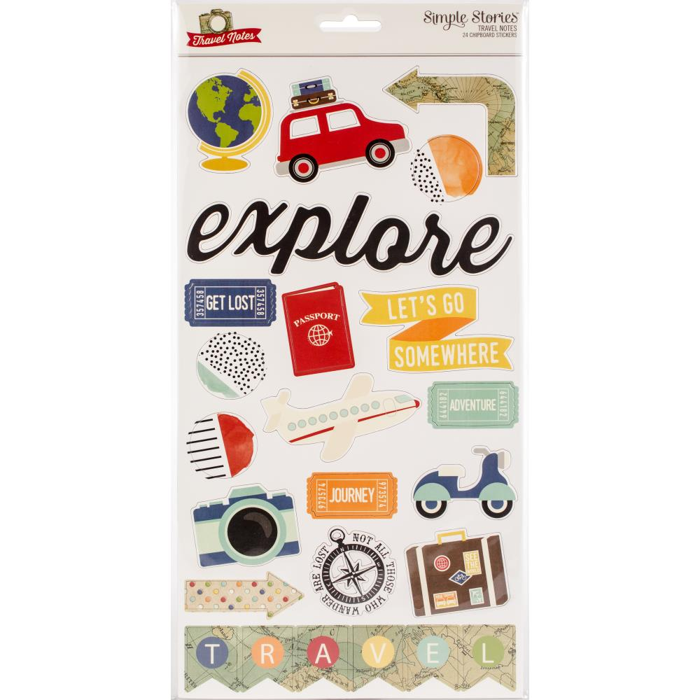 "Travel Notes Chipboard Stickers 6""X12"""