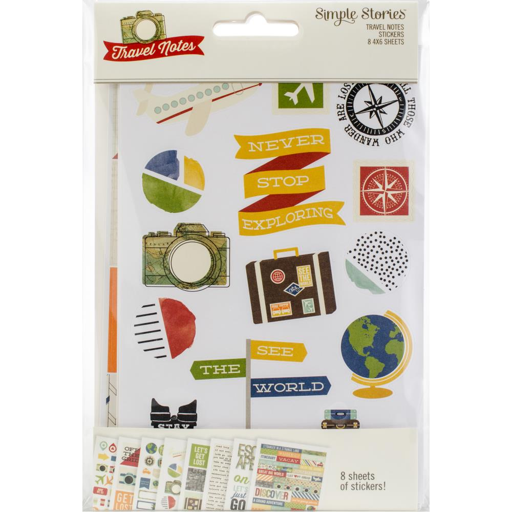 "Simple Stories Travel Notes Stickers 4""X6"" 8/Pkg"