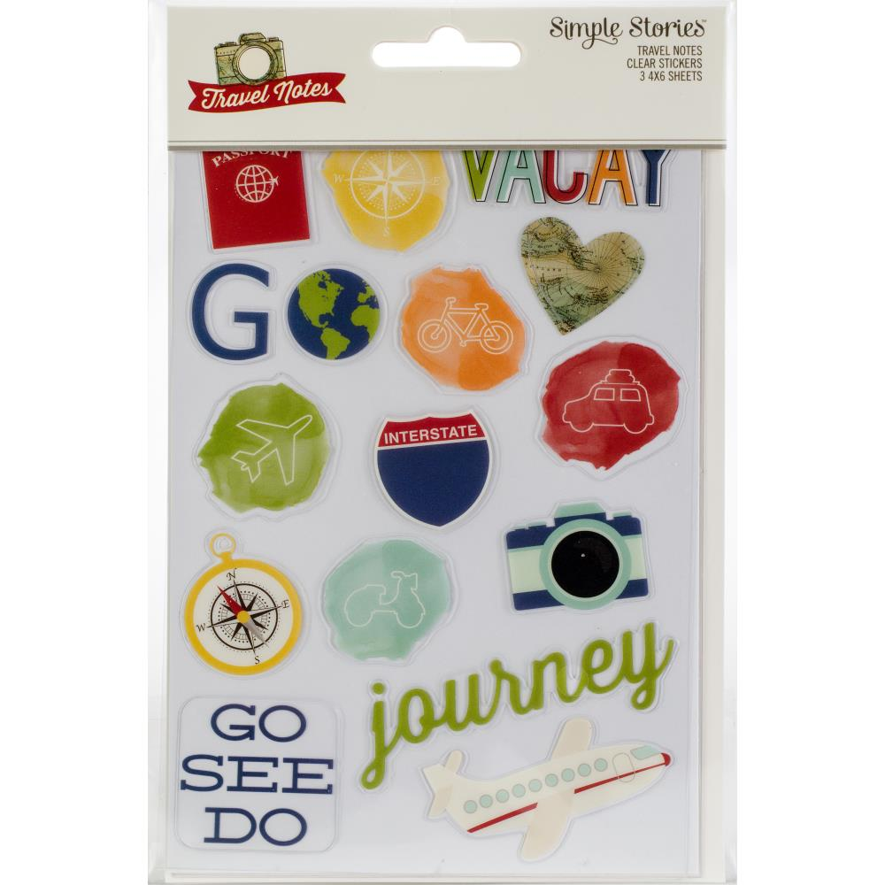 "Travel Notes Clear Stickers 4""X6"" 3/Pkg"