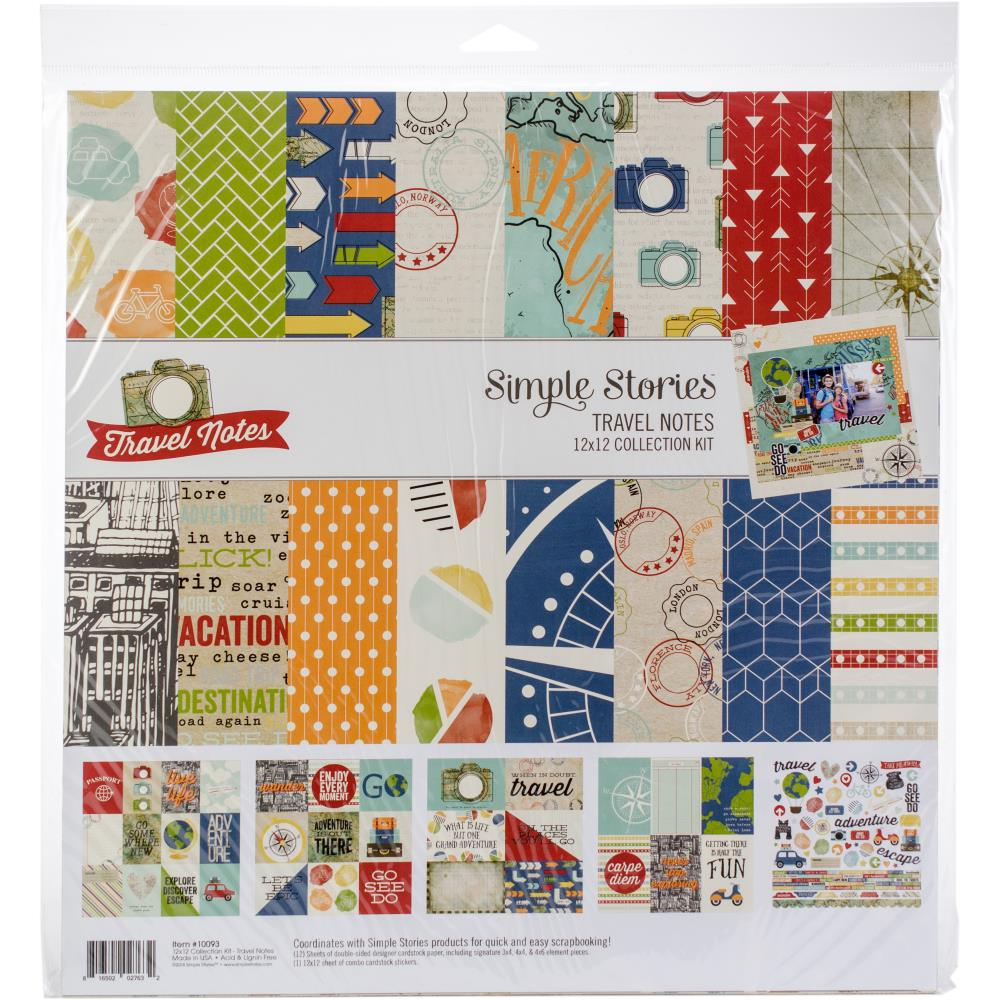 Simple Stories - 12 x 12 Collection Kit - Travel Notes - Scrap Of Your Life