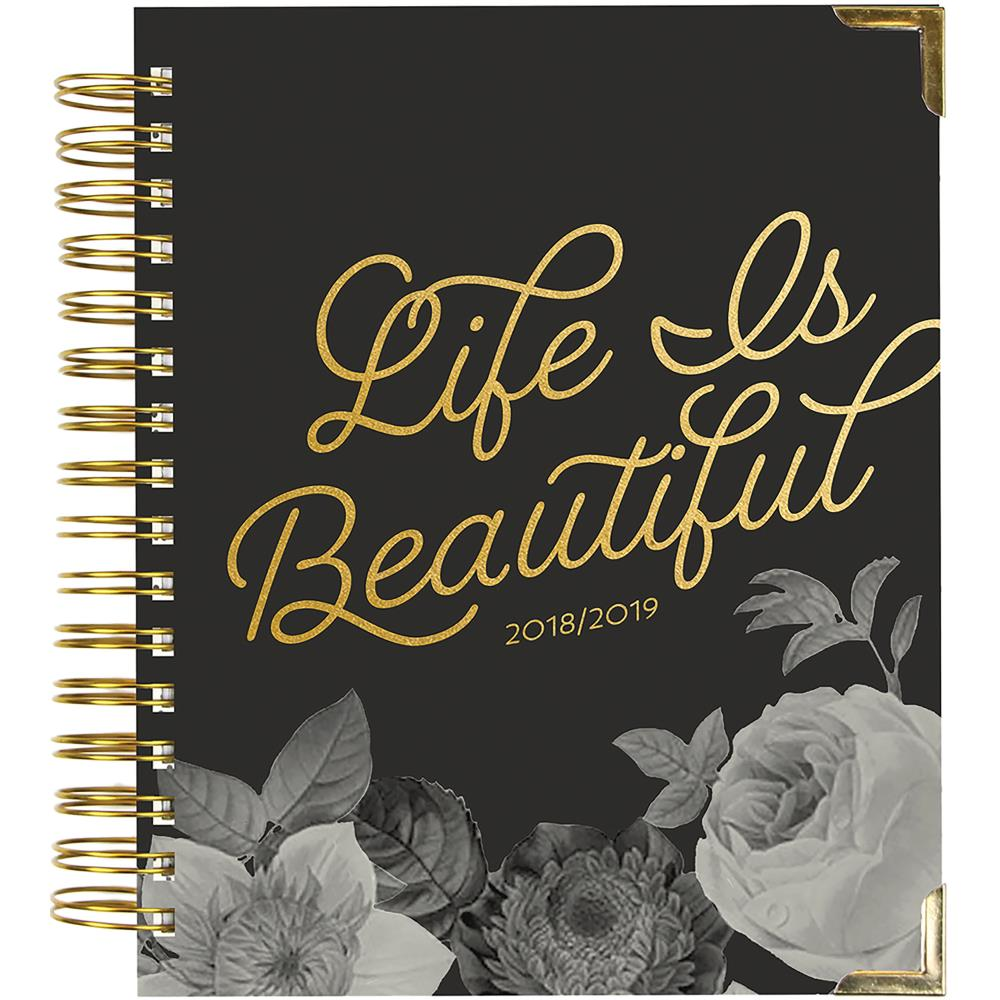 "Carp Diem Spiral 17-Month Dated Weekly Planner 7""X8.75"" Life is Beautiful"
