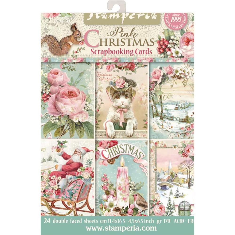 Stamperia Cards Pad Pink Christmas