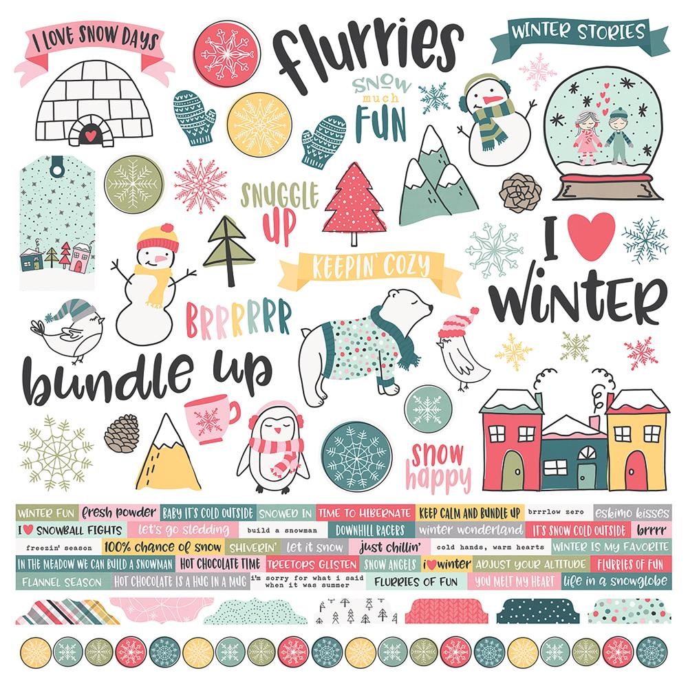 "Simple Stories Freezin Season Combo Cardstock Stickers 12""X12"" - Scrap Of Your Life"