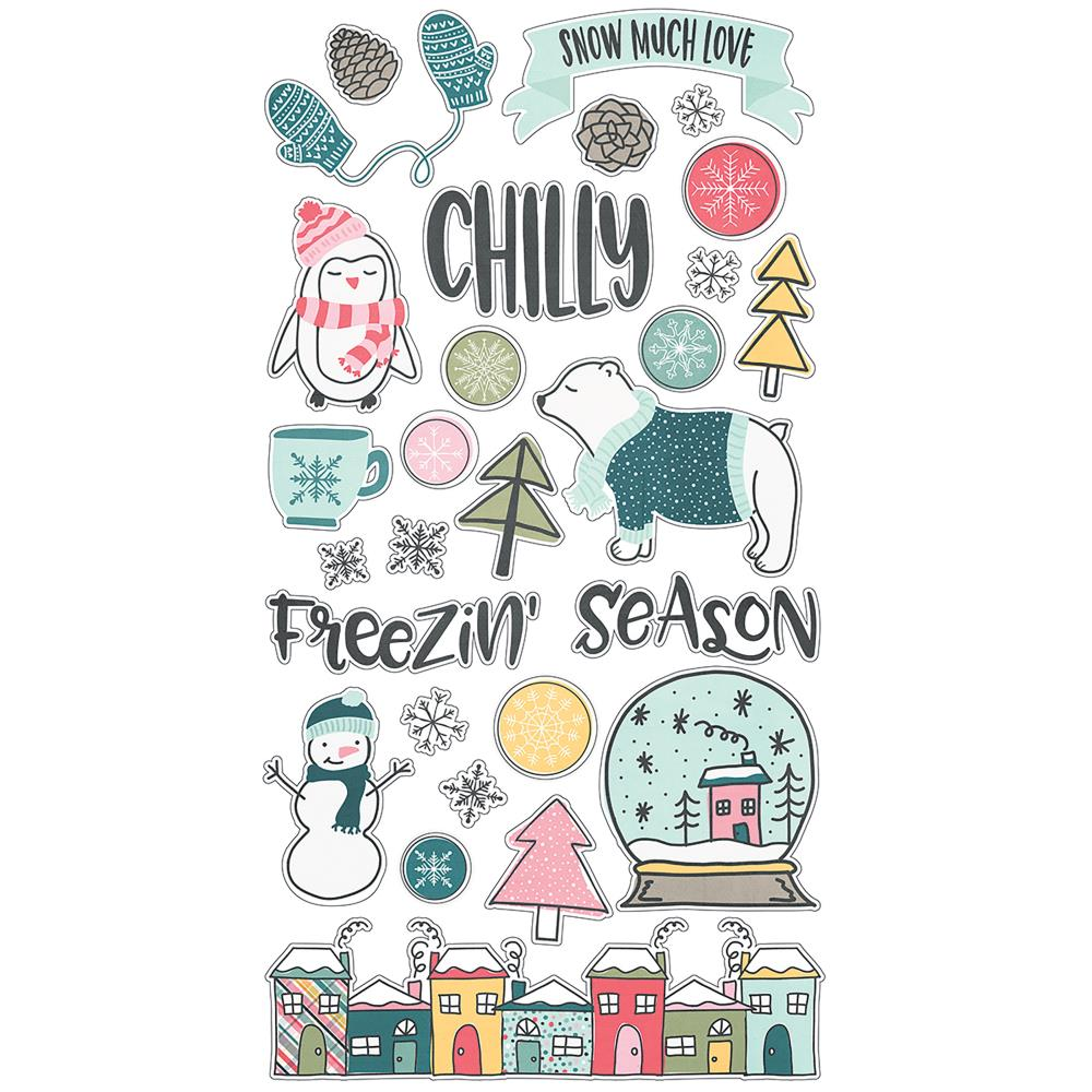 "Simple Stories - Freezin' Season Chipboard Stickers 6""X12"" - Scrap Of Your Life"
