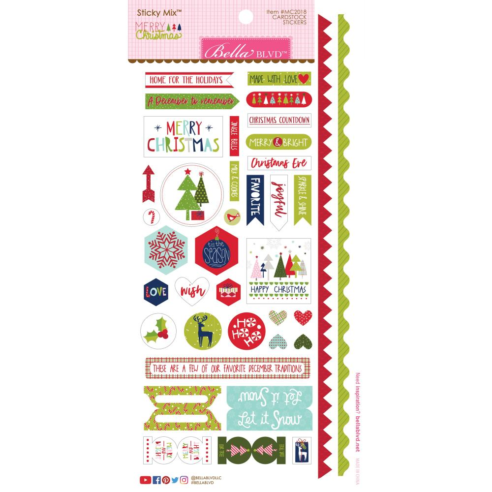 "Bella Blvd Merry Christmas Cardstock Stickers 6""X12.5"""