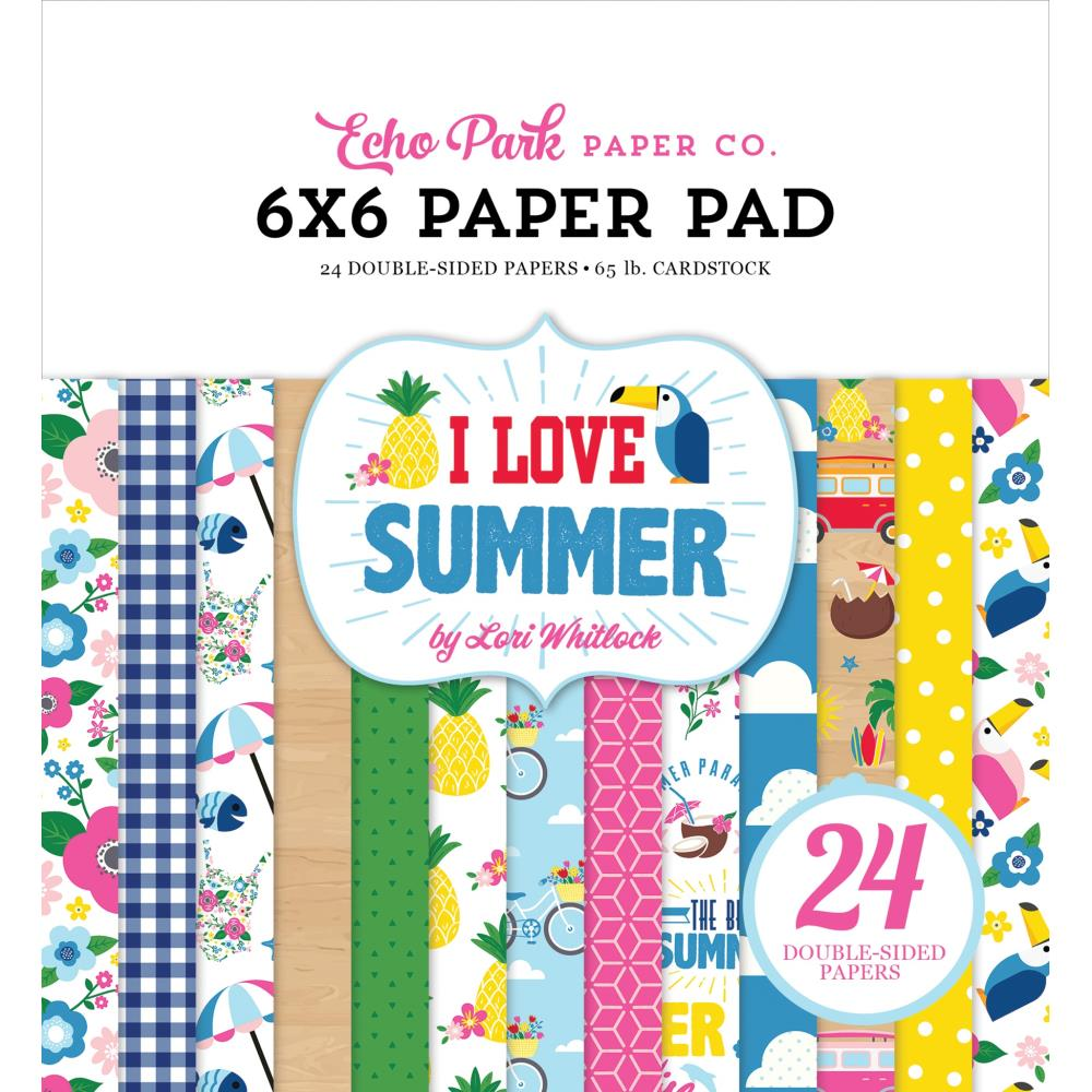 "Echo Park Double-Sided Paper Pad 6""X6"" I Love Summer - Scrap Of Your Life"