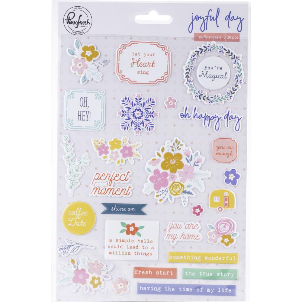 Pink Fresh Joyful Day Puffy Stickers