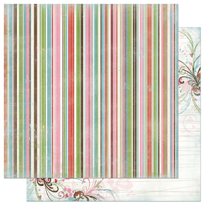 Bo Bunny 12 x 12 Paper Love Bandit Stripe - Scrap Of Your Life