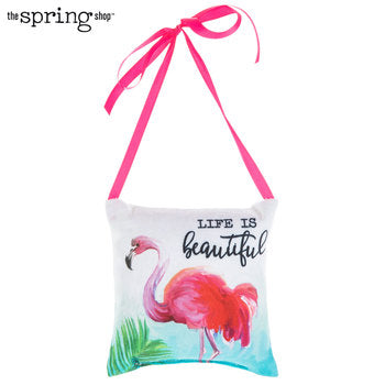 Flamingo Pillow Door Hanger - Life is Beautiful - Scrap Of Your Life