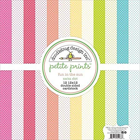 Doodlebug Design - Fun in the Sun Collection - 12 x 12 Paper Pack - Swiss Dot Petite Print Assortment - Scrap Of Your Life