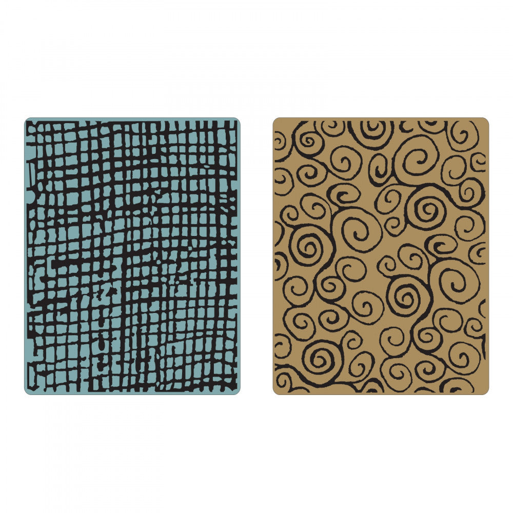 Sizzix Tim Holtz Texture Fades Alterations Collection Embossing Folders Burlap and Swirls Set - Scrap Of Your Life