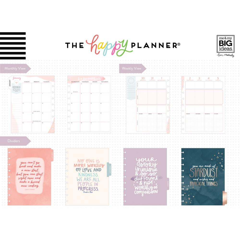 "MAMBI Happy Planner 12-Month Dated Deluxe Classic Planner 9.25""X7"" Be Well - Scrap Of Your Life"