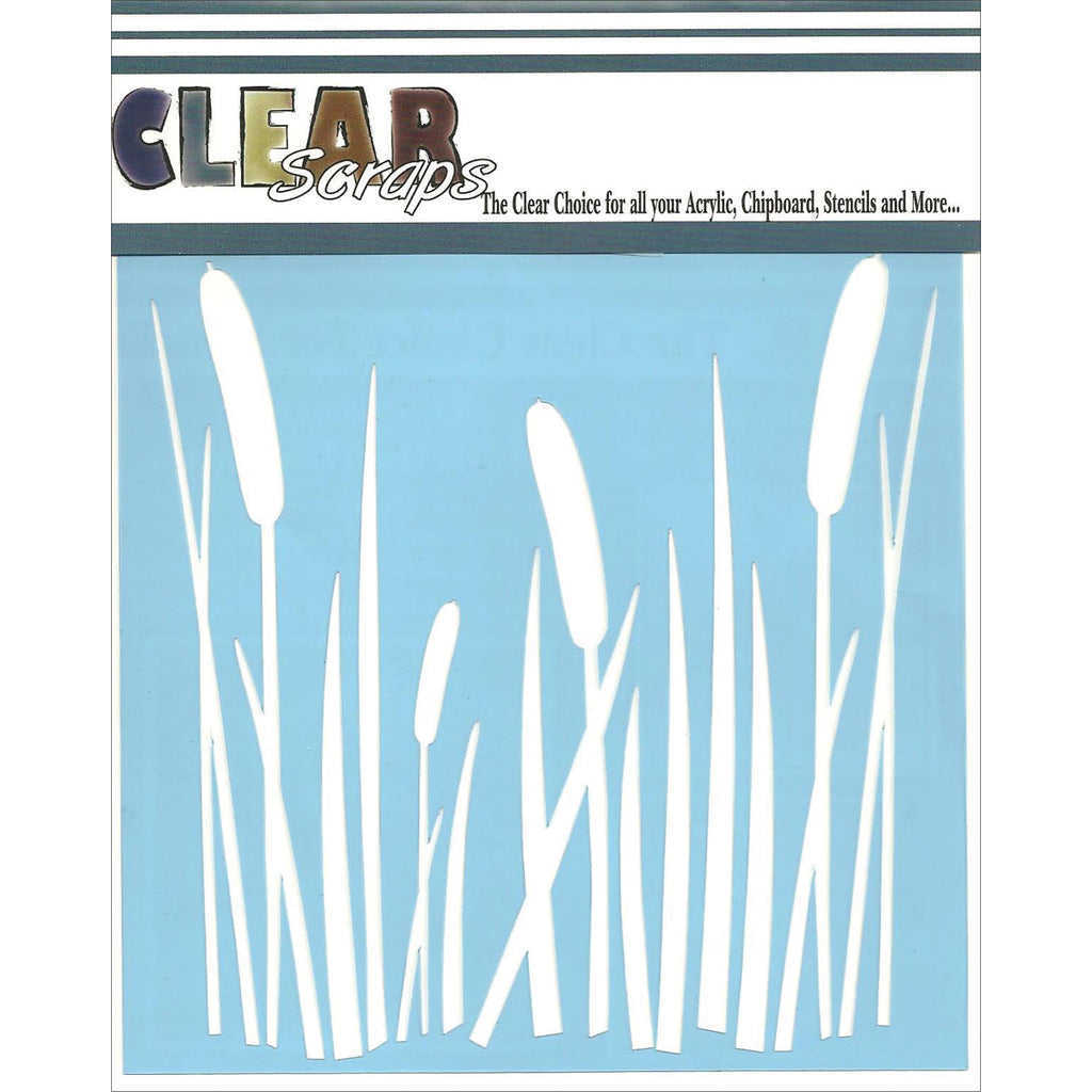 Clear Scraps  6 x 6 Stencil Cattails