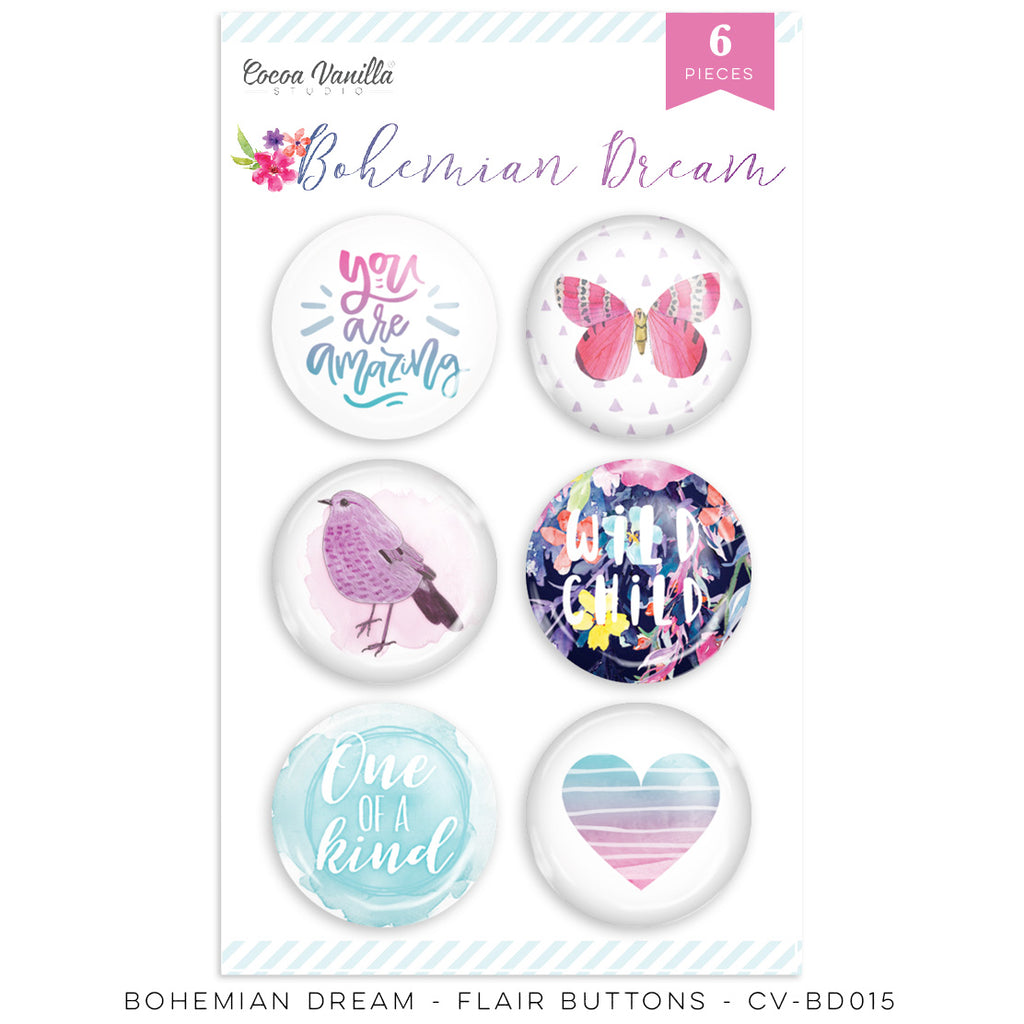 Coco Vanilla Studio 12 x 12 Paper Bohemian Dream - Flair Buttons