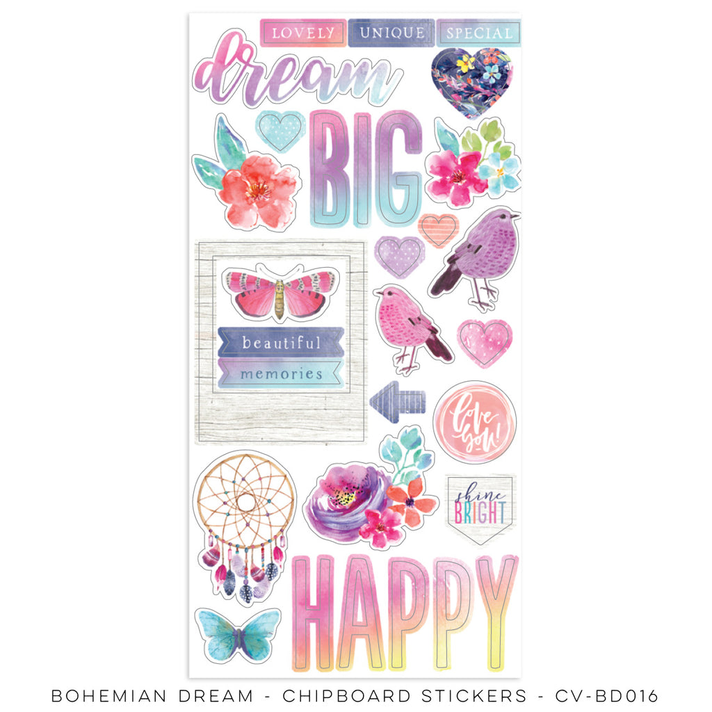 Coco Vanilla Studio 12 x 12 Paper Bohemian Dream - Chipboard Stickers