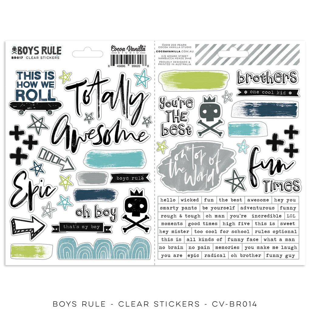 Cocoa Vanilla Studio - Boys Rule Clear Stickers - Scrap Of Your Life