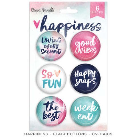 Cocoa Vanilla Designs Happiness Flair Buttons - Scrap Of Your Life