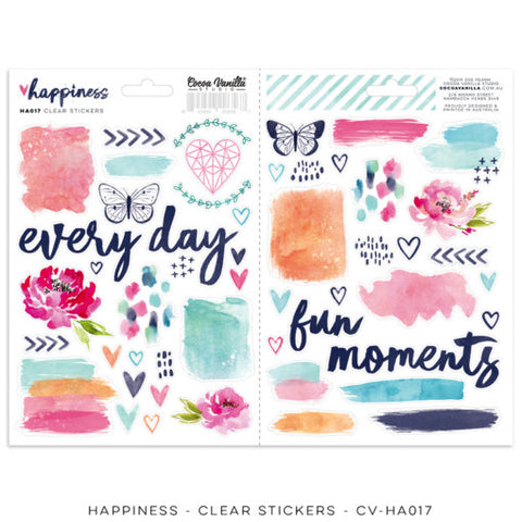 Cocoa Vanilla Designs - Happiness - Clear Stickers - Scrap Of Your Life