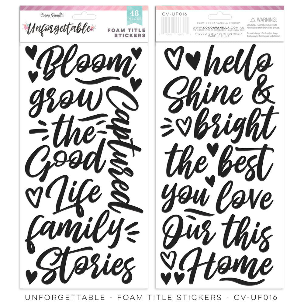 Cocoa Vanilla Studio - Unforgettable - Foam Title Stickers - Scrap Of Your Life