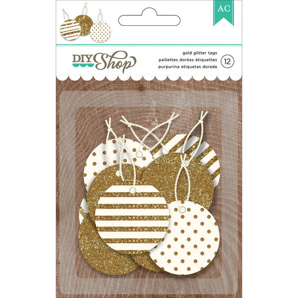 American Crafts DIY Shop Gold Glitter Tags