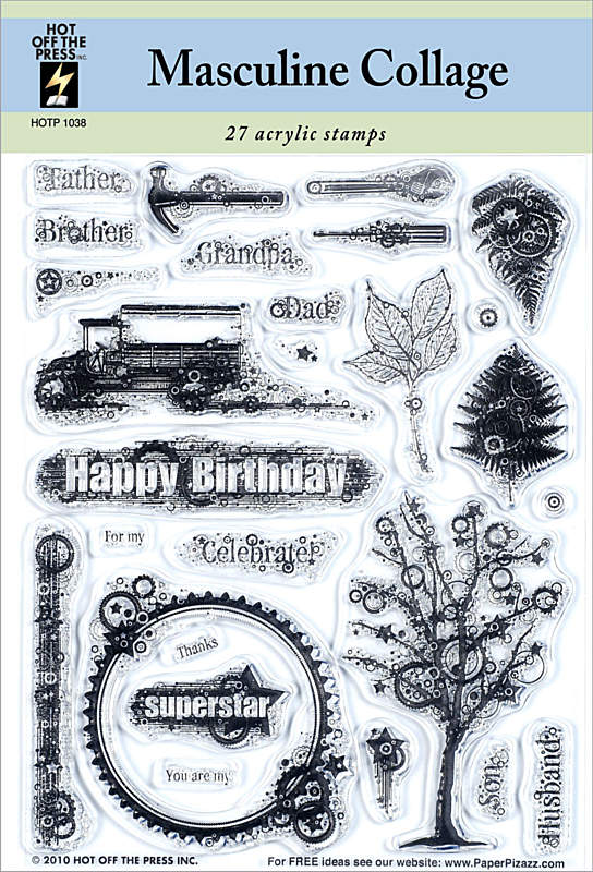 HOTP Acrylic Stamp Set Masculine Collage - Scrap Of Your Life