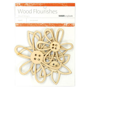 Kaisercraft Wood Flourishes Button Flowers