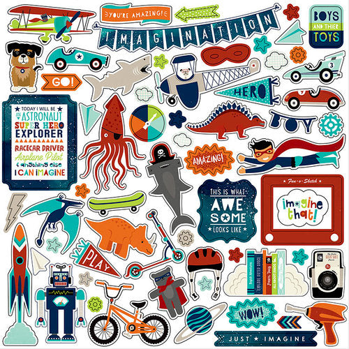 Echo Park - Imagine That Boy - 12 x 12 Cardstock Stickers - Elements - Scrap Of Your Life
