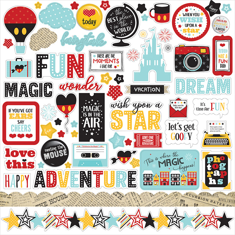 Echo Park - Wish Upon a Star Collection - 12 x 12 Cardstock Stickers - Elements