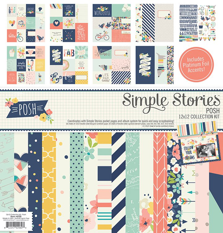 Simple Stories - 12 x 12 Collection Kit -  Posh