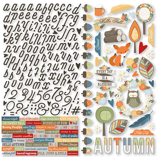 Simple Stories - Hello Fall Collection - 12 x 12 Cardstock Stickers - Combo