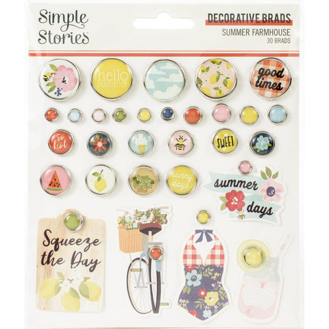 Simple Stories - Summer Farmhouse Collection - Brads - Scrap Of Your Life