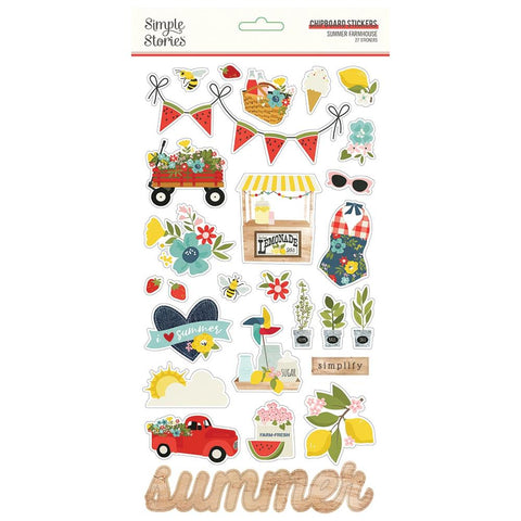 Simple Stories - Summer Farmhouse Collection - Chipboard Stickers - Scrap Of Your Life