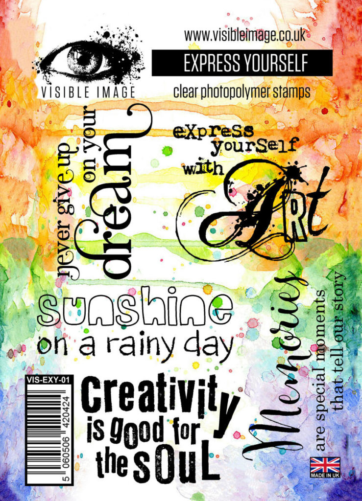 Visible Image Acrylic Stamp Express Yourself. 5 superb quotes for journaling, scrapbooking, mixed media and card making.
