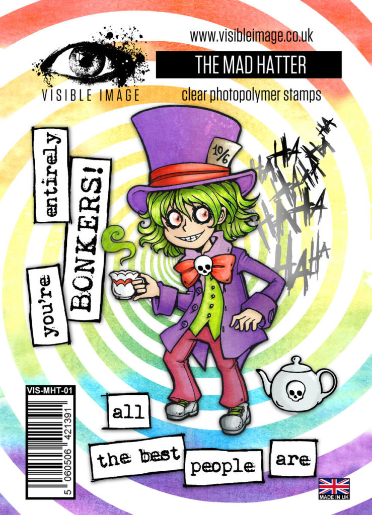 Visible Image Acrylic Stamp Wonderland Collection The Mad Hatter. ur Mad Hatter is definitely bonkers! His tea party is in full swing!!! You'll create brilliant backgrounds with the HAHAHA background stamp and teapot.