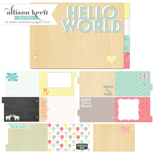 Websters Designs Alison Kreft Hello World Chipboard Board Kit