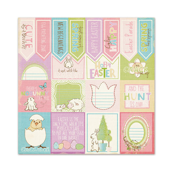 WRMK  Glitter 12 x 12 Paper Sentiments Cotton Tail