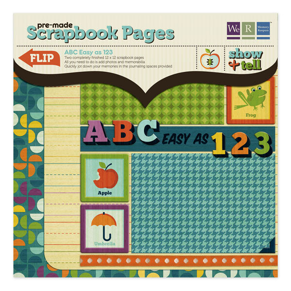 WRMK Show & Tell Premade Scrapbook Pages - ABC Easy as 123