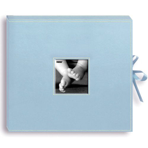Pioneer Ring Binder 12x12 Sewn Leatherette Album with Frame Box Baby Blue