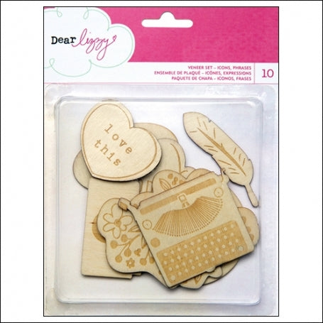 American Crafts Dear Lizzy Daydreamer Wood Veneer Shapes 10/Pkg Accents & Phrases - Scrap Of Your Life