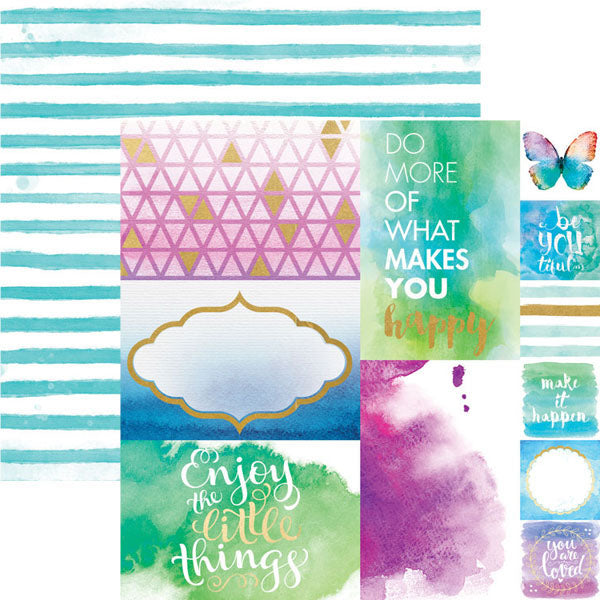 Paper House Productions - Color Washed Collection - 12 x 12 Double Sided Paper with Foil Accents - Makes You Happy - Scrap Of Your Life