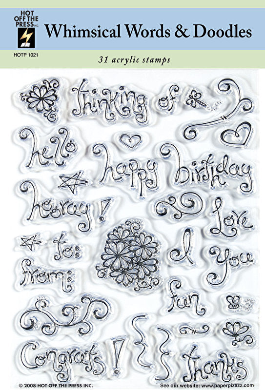 HOTP Acrylic Stamp Set Whimisal Words and Doodles